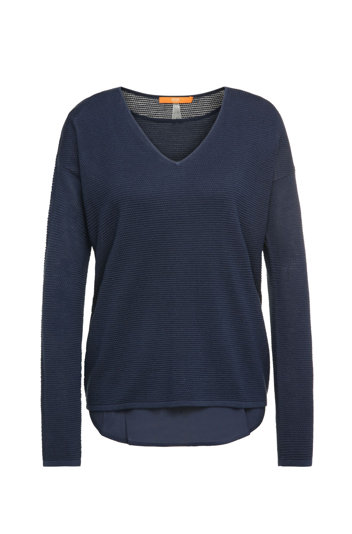 Regular-fit sweater in viscose blend with cotton, new wool and silk: 'Indilas'