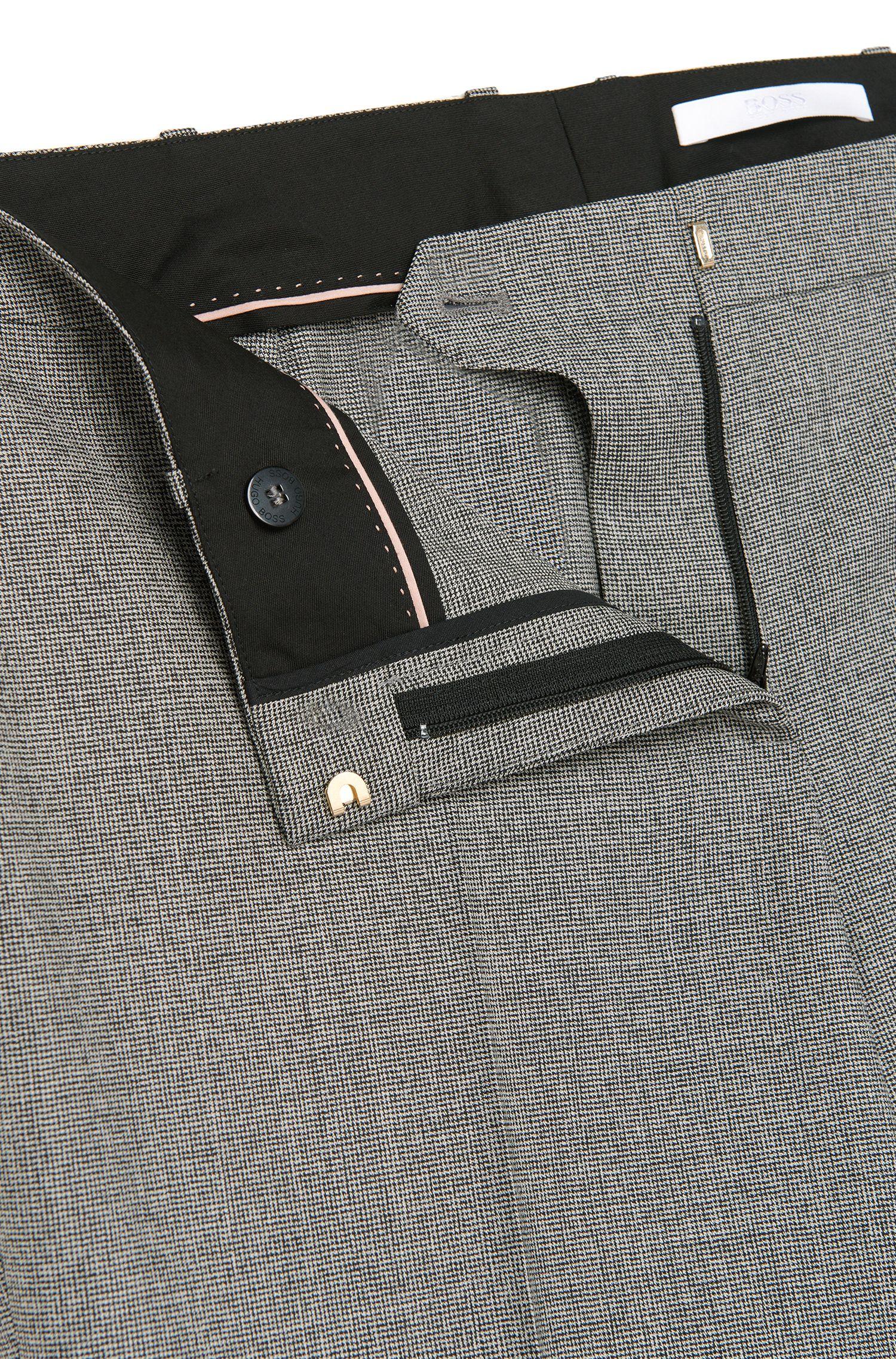 Standard-fit broek van elastische scheerwol met dessin: 'Tamea5'