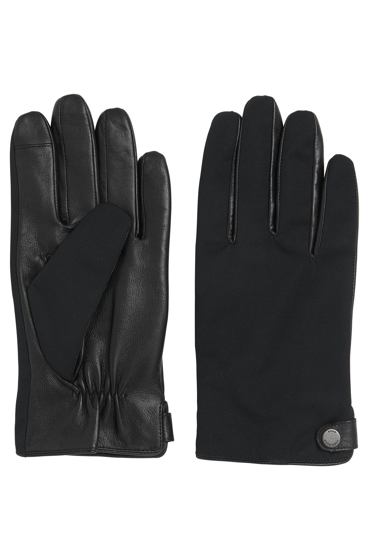 Lined leather gloves with touchscreen functionality: 'Harios-TT'