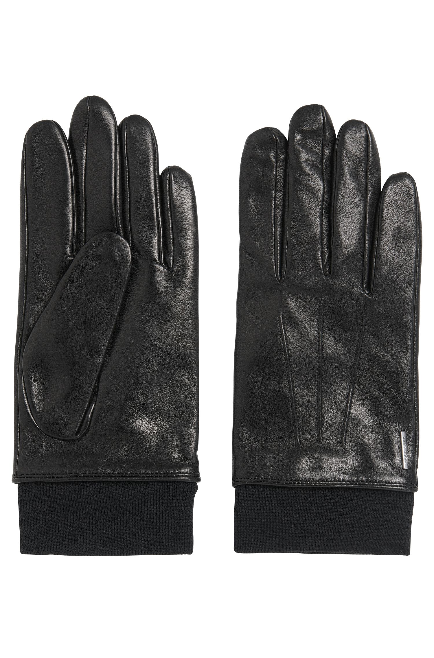 Leather gloves with decorative stitching: 'Herbo'