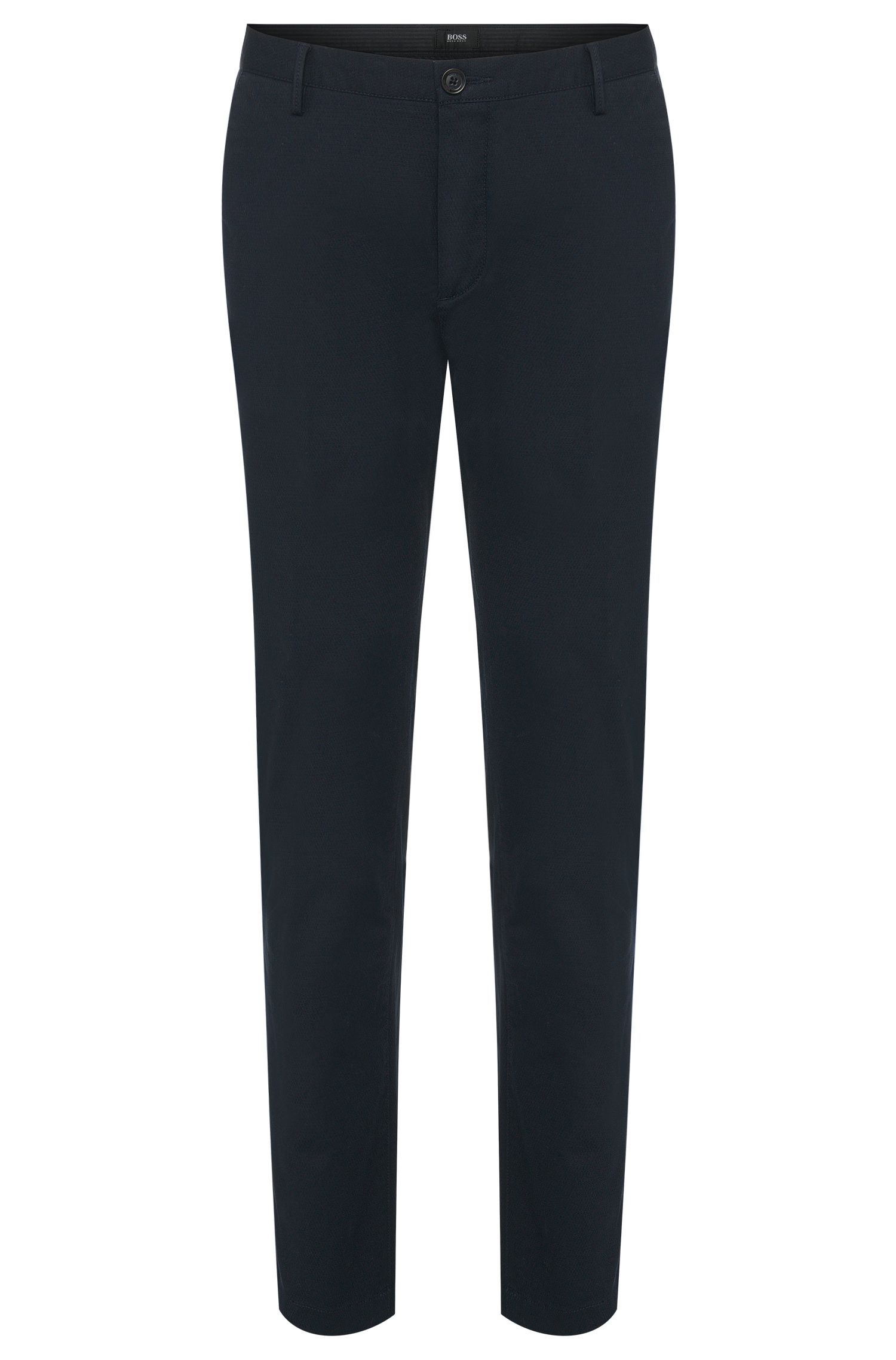 Slim-fit chinos in textured stretch cotton: 'Rice3-W'