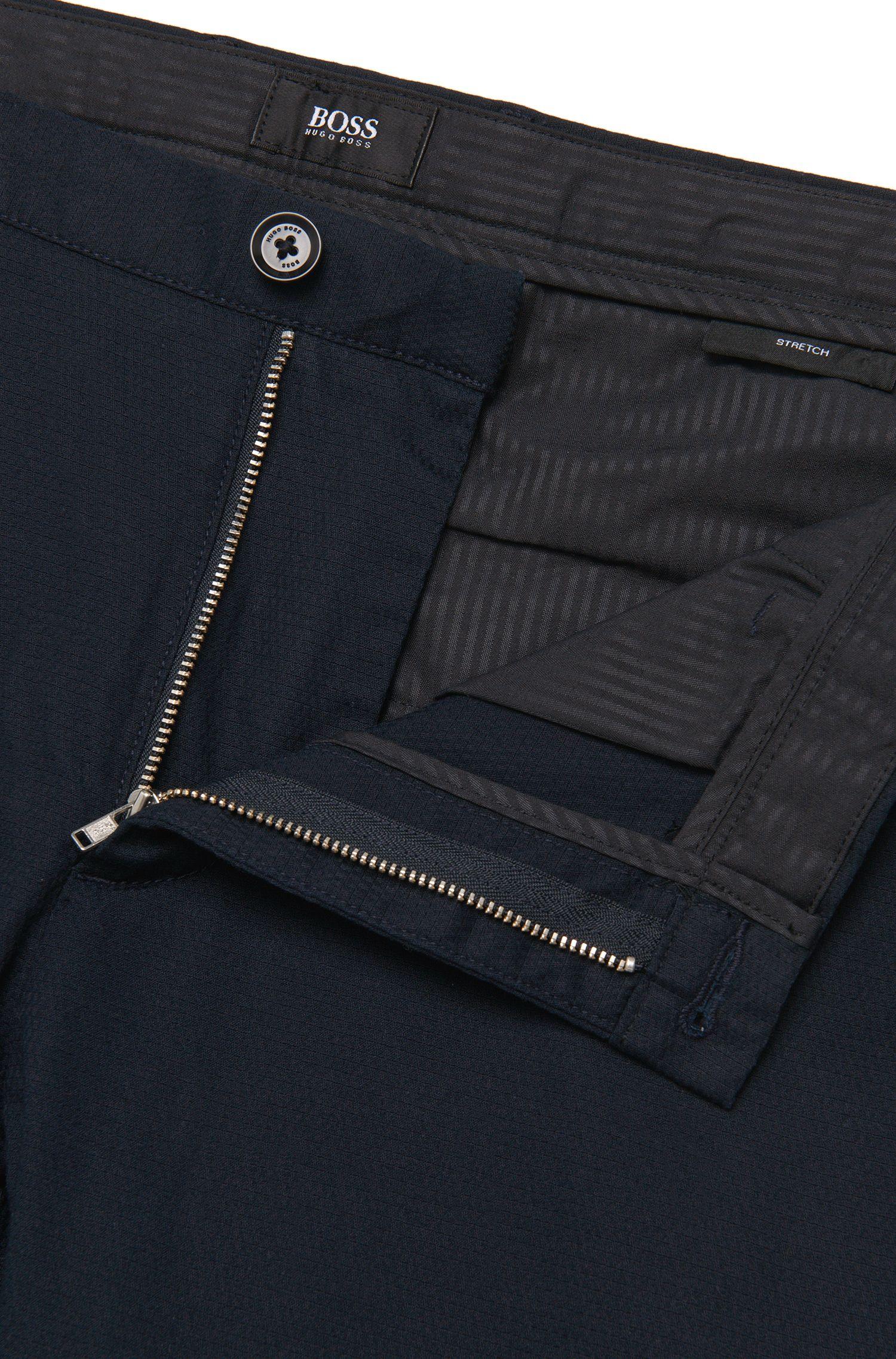 Chino Slim Fit en coton extensible structuré: «Rice3-W»