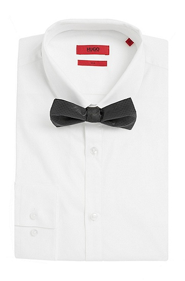 Seidenfliege mit feinem Rauten-Muster: 'Big bow tie', Schwarz