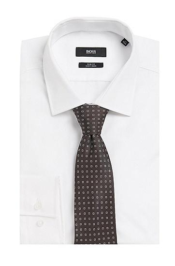 Gemusterte Krawatte aus Seide: Tie 7,5 cm', Dunkelbraun