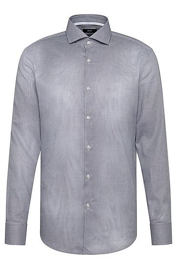 Gemustertes Slim-Fit Hemd aus Baumwolle: 'Jery', Anthrazit
