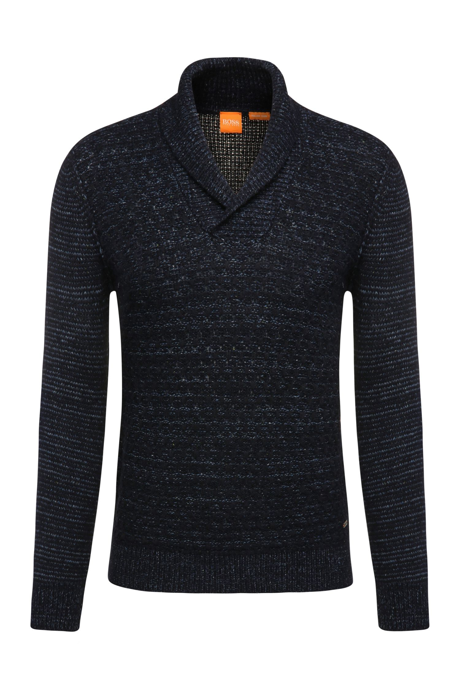 Slim-fit sweater in fabric blend with wool, viscose, alpaca and silk: 'Kwaul'