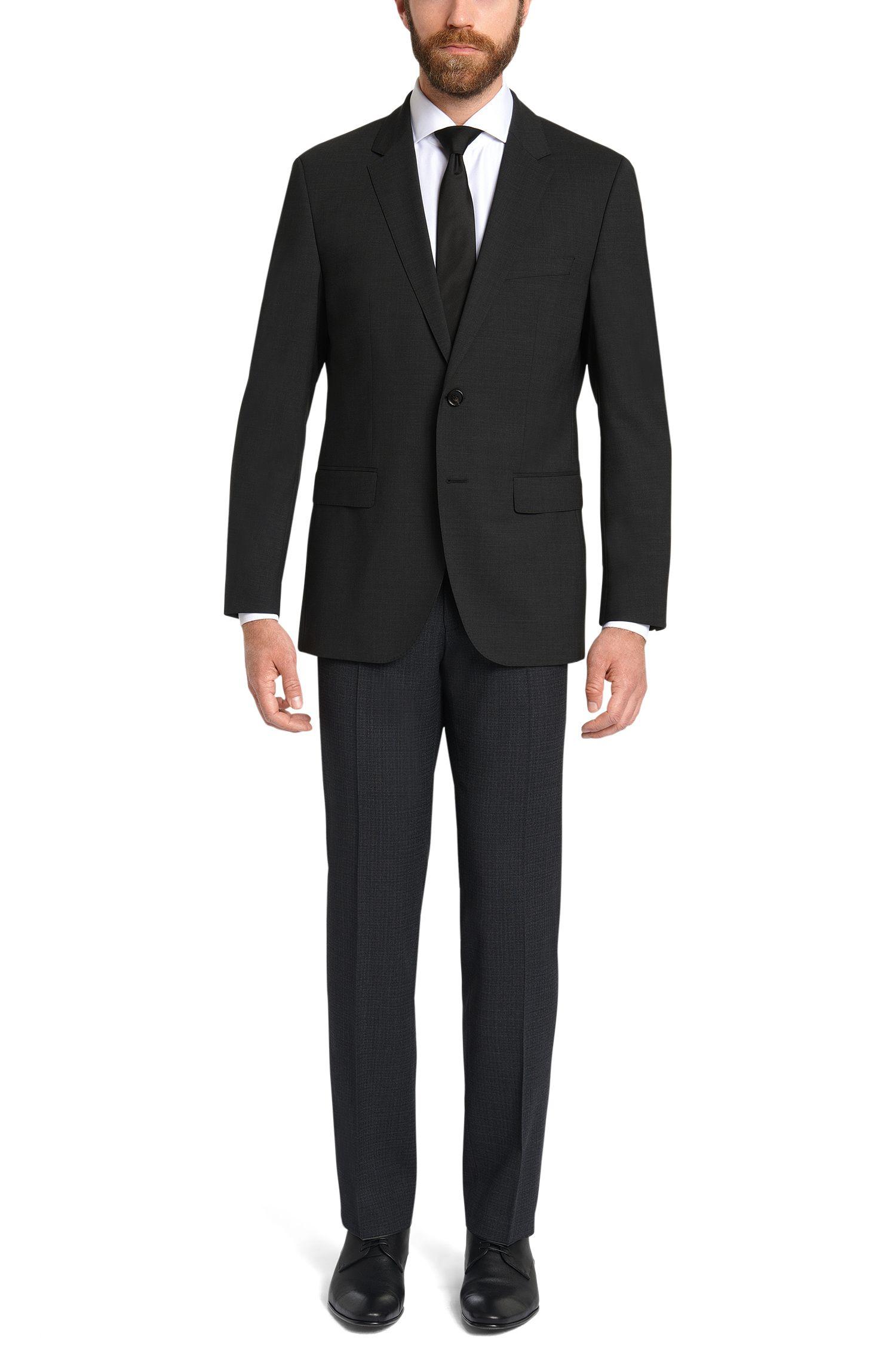 Fein gemusterte Slim-Fit Hose aus elastischer Schurwolle: 'Genesis2'