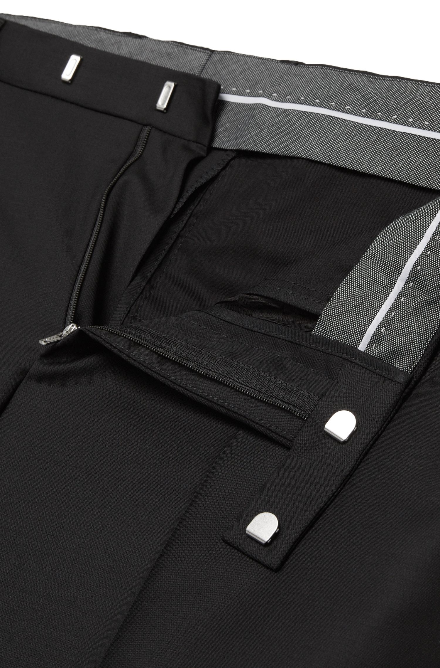 Unifarbene Regular-Fit Hose aus Schurwoll-Mix mit Kaschmir: 'Leenon'