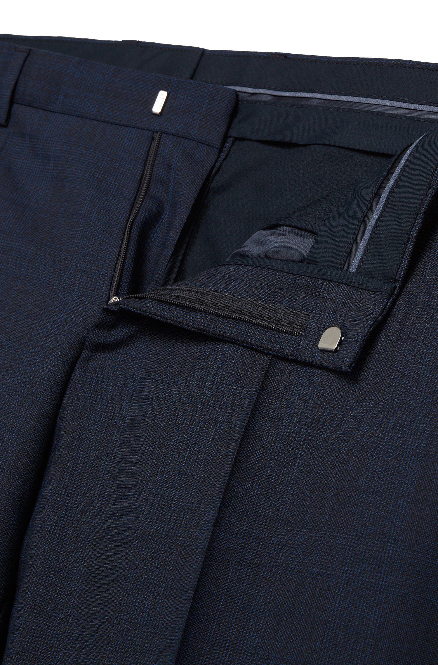 Geruite, slim-fit broek van scheerwol: 'Genesis2'