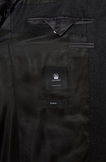 Slim-Fit Anzug aus elastischem Schurwoll-Mix mit Kaschmir: 'Huge4/Genesis3', Dunkelgrau