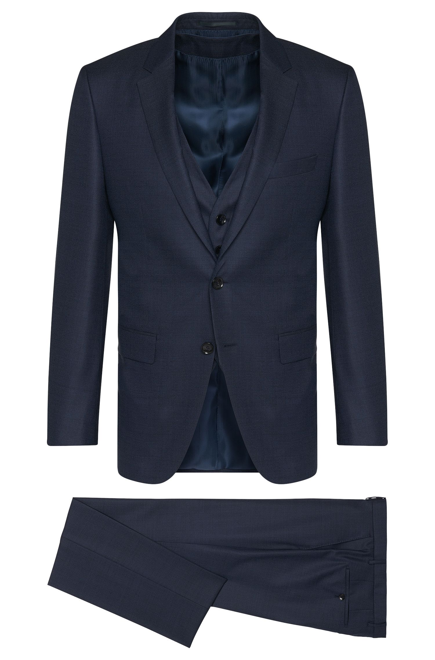 Slim-fit Tailored suit in new-wool blend with silk: 'T-Harvers2Glover1WE2'