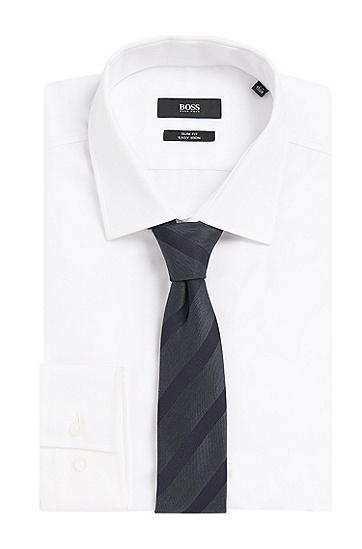 Gestreifte Krawatte aus Seiden-Mix mit Wolle: 'Tie 7,5 cm', Anthrazit