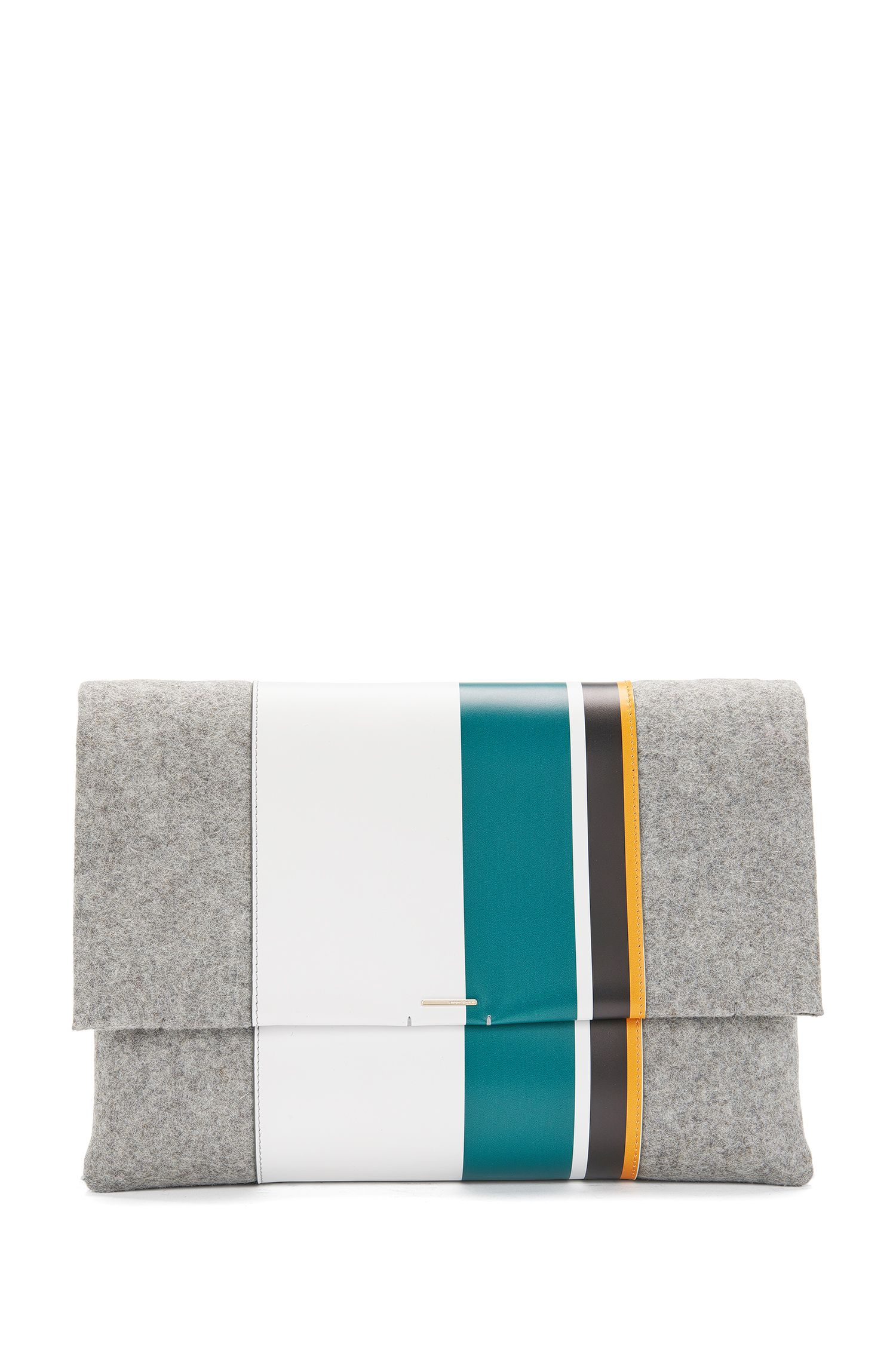 Clutch bag in felt with leather trim: 'Luxury Staple C-PF'