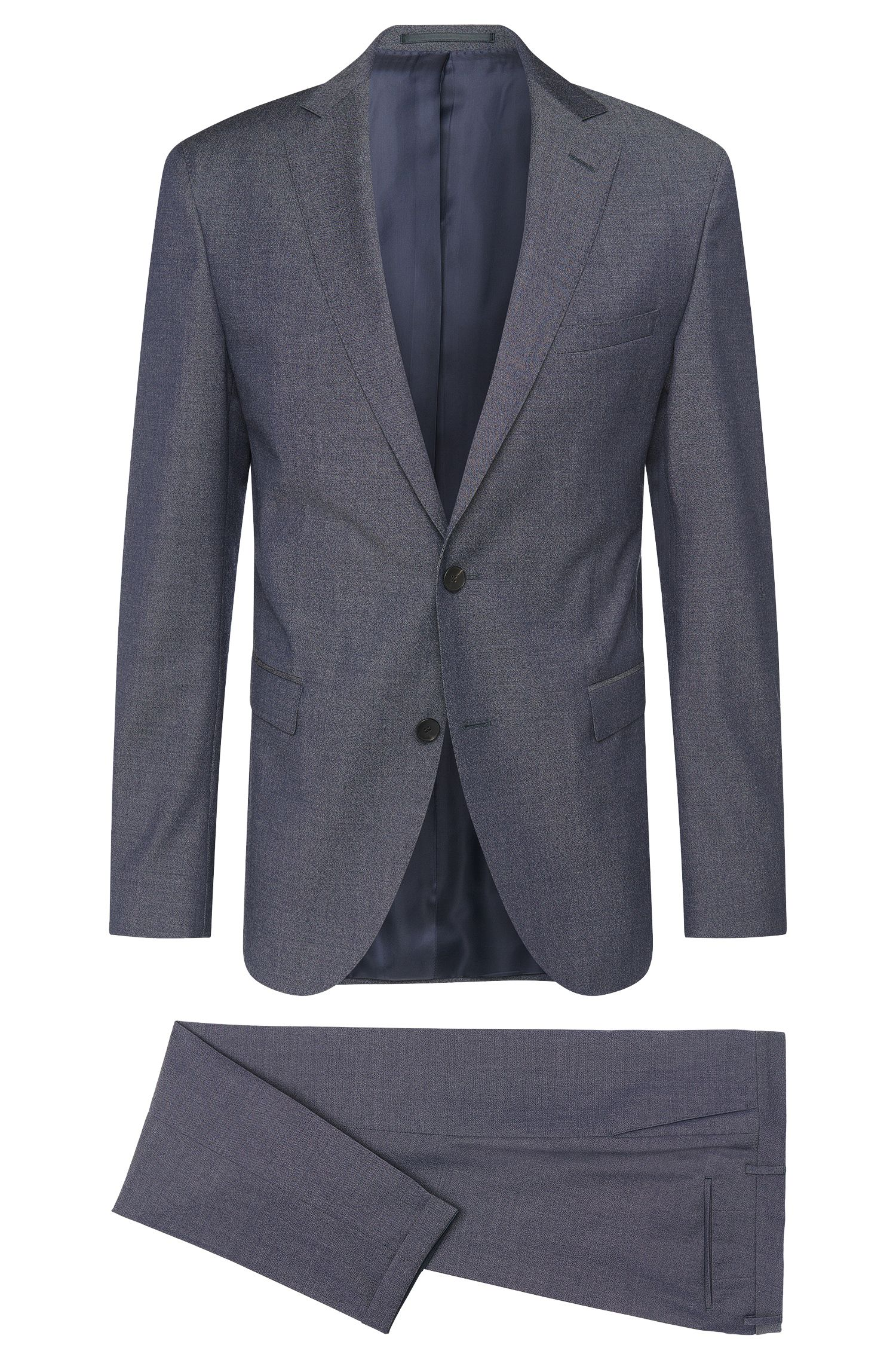 Extra-slim-fit suit in new wool with turn-ups: 'Reyno2/Wave1'