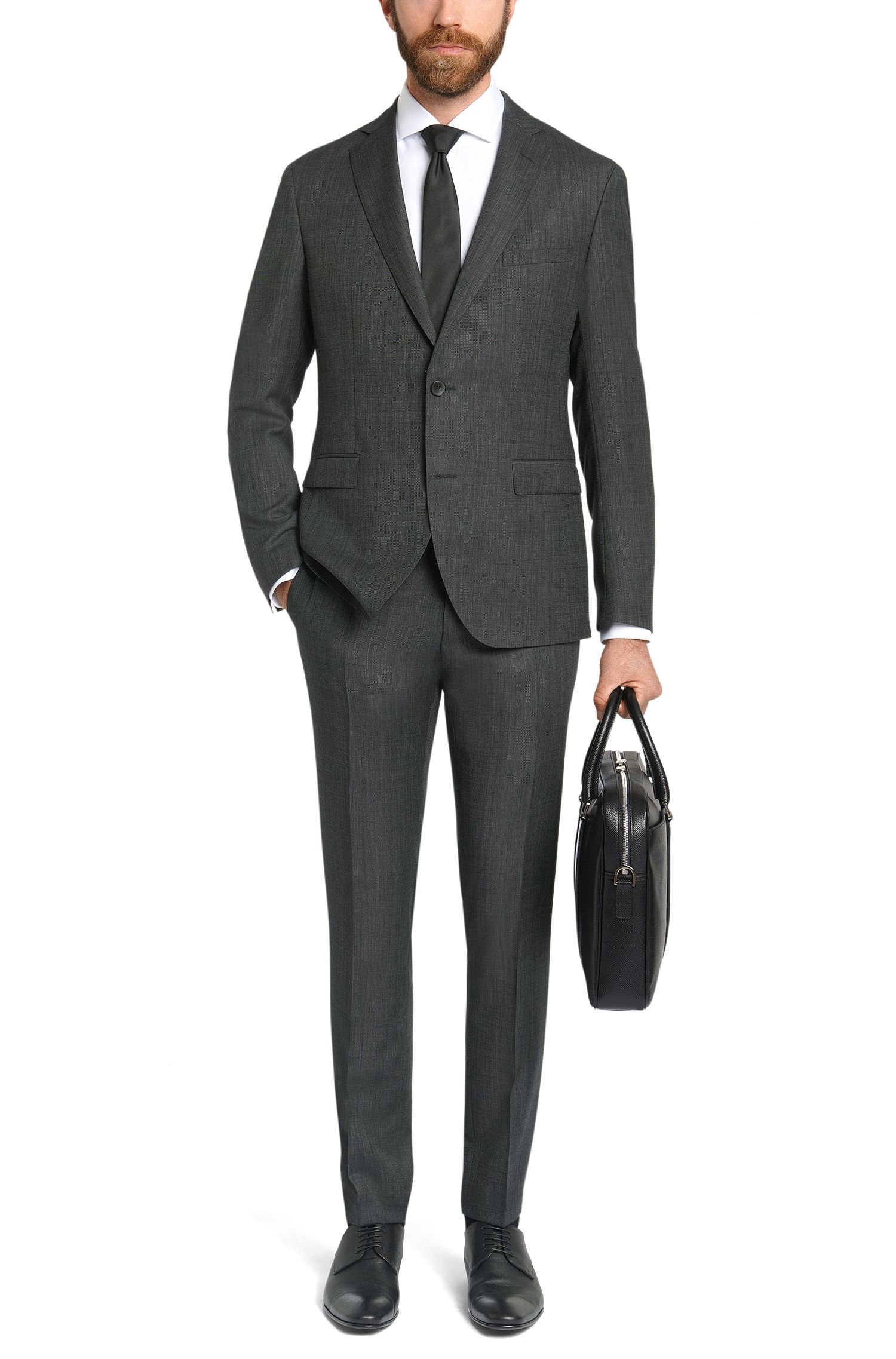 Extra Slim-Fit Anzug aus Schurwoll-Mix mit Kaschmir: 'Reyno2/Wave1'