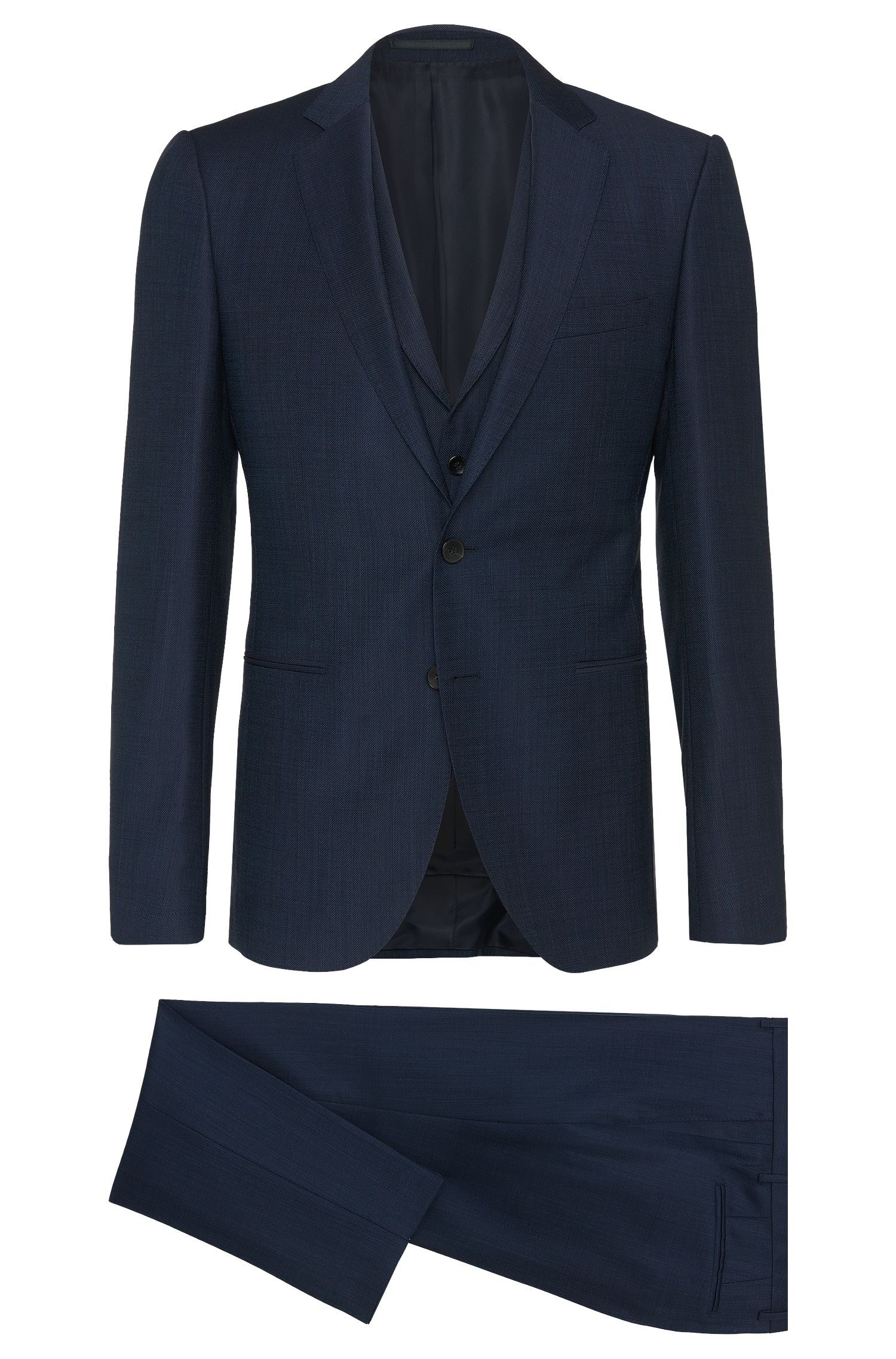 Extra slim-fit 3-piece suit in new-wool blend with cashmere: 'Redson/Wyatt WE'
