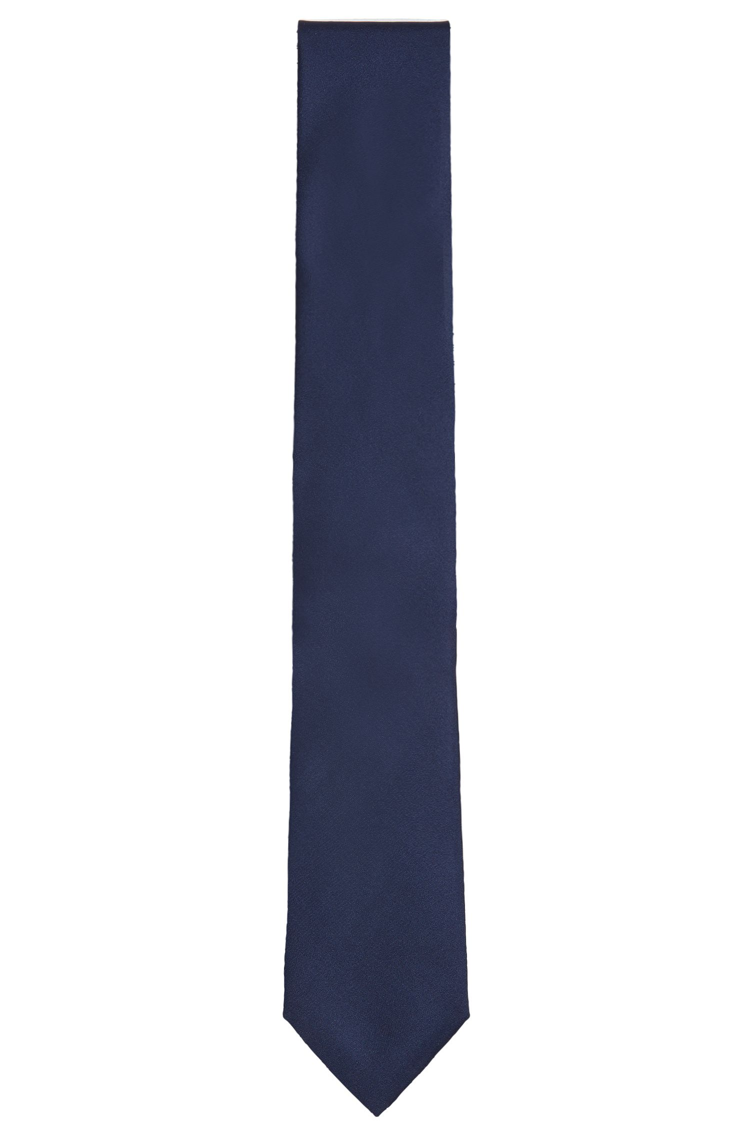 Plain silk tie with fluted texture: 'Tie 7 cm'