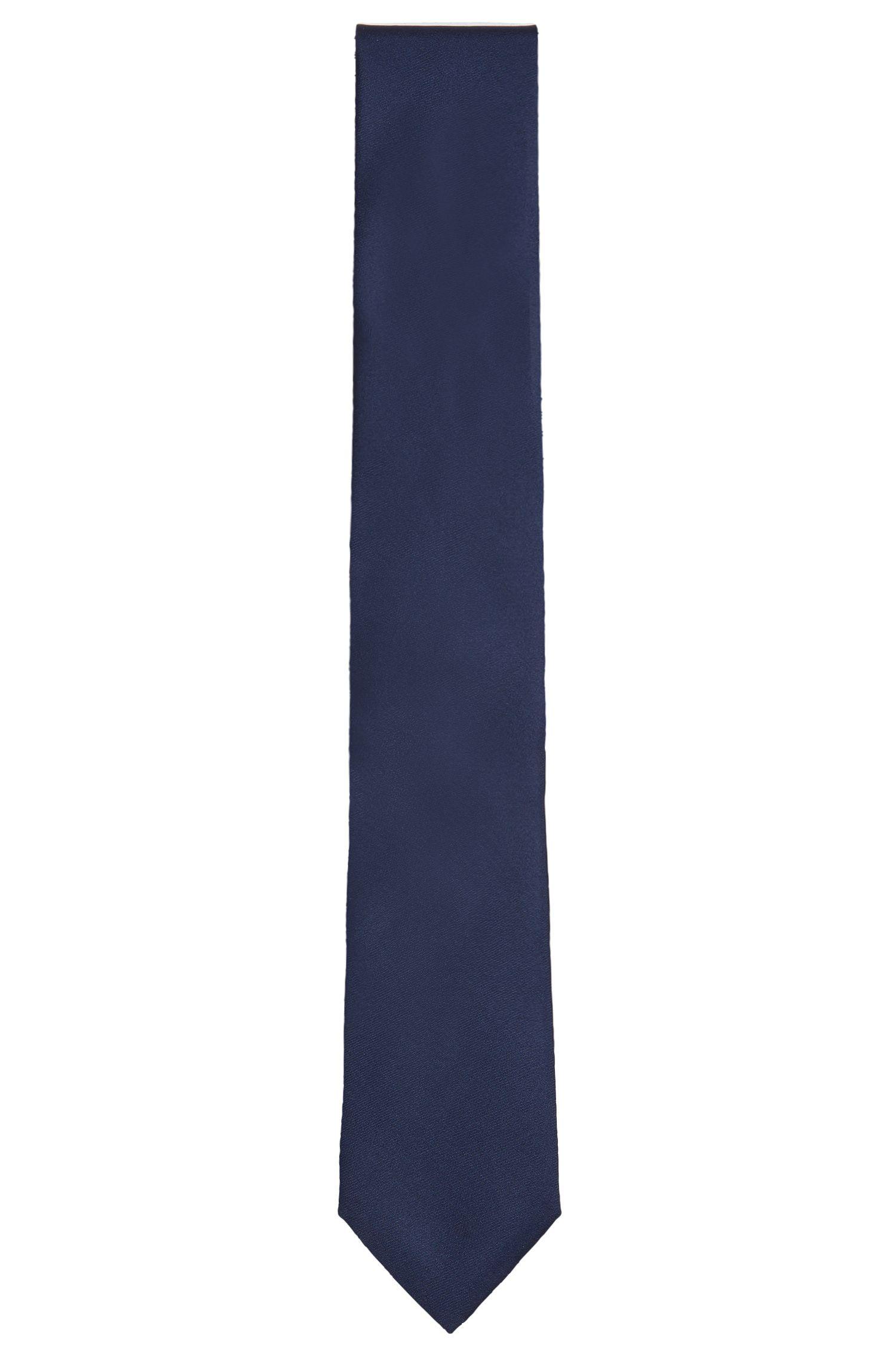 Effen, zijden stropdas met geribbelde structuur: 'Tie 7 cm'