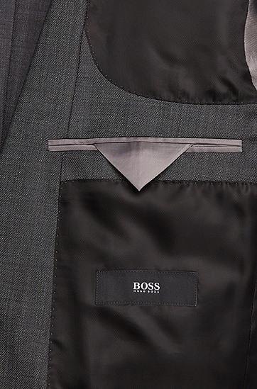 Slim-Fit Anzug aus reiner Schurwolle: 'Huge4/Genesis3', Dunkelgrau