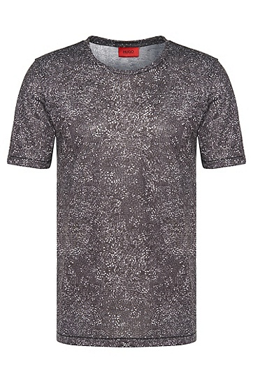 Gemustertes Loose-Fit T-Shirt: 'Dchain', Anthrazit