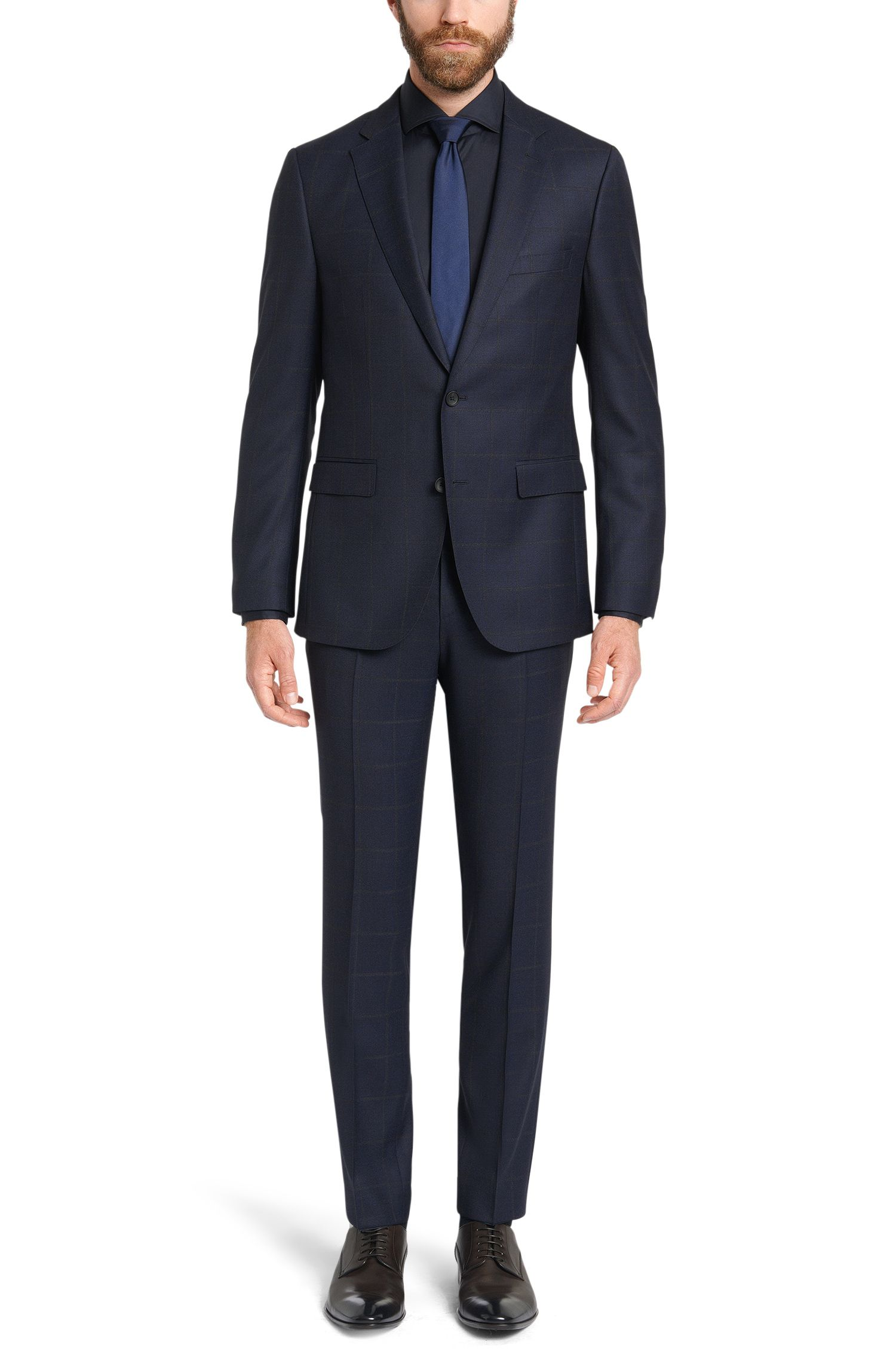 Costume Slim Fit à carreaux en pure laine vierge: «Novan3/Ben»