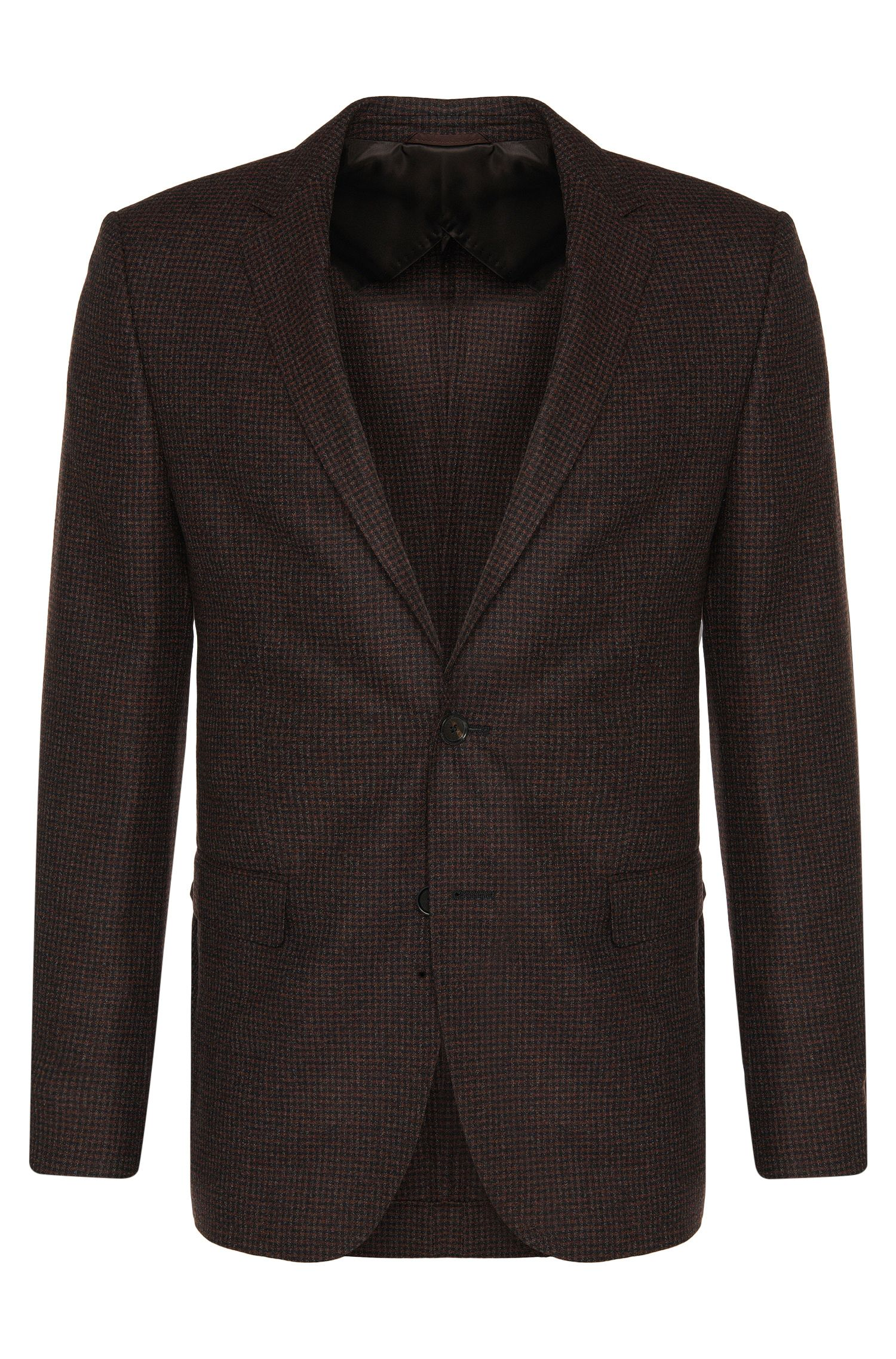Finely checked slim-fit jacket in new wool: 'Nobis2'