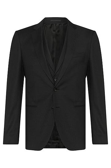Extra Slim-Fit Anzug aus Schurwolle mit Weste: 'Redson/Wyatt WE', Schwarz