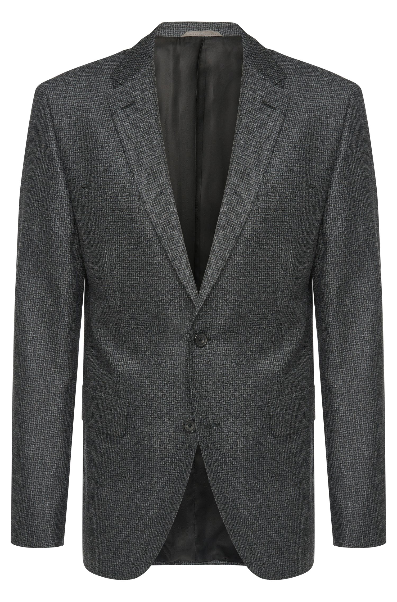 Regular-fit jacket in new wool with elbow patches: 'Jayson_1'