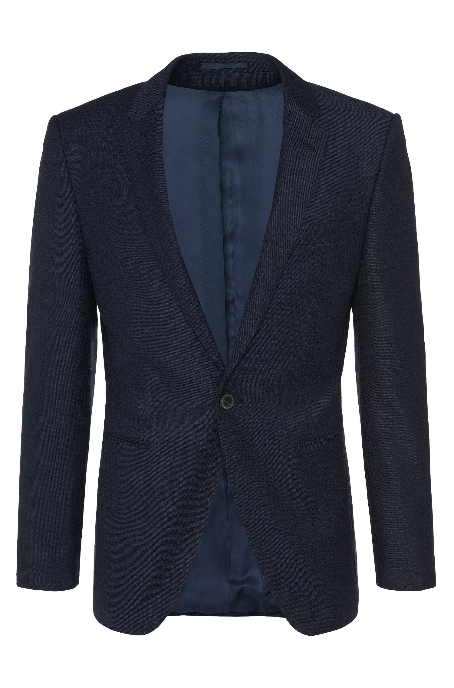 Patterned extra slim-fit Tailored jacket in a new-wool blend with silk: 'T-Reece'