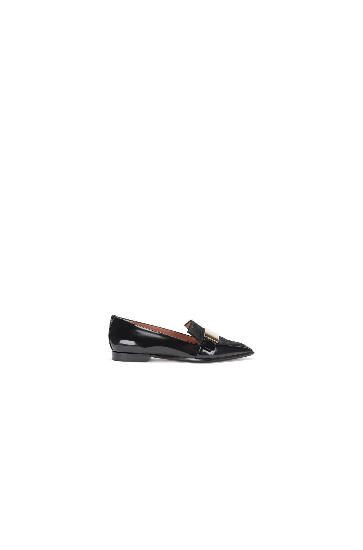 Loafer aus Lackleder mit Kalbsfell-Besatz: 'Pointy Loafer' LB'