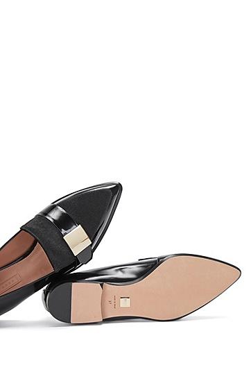 Loafer aus Lackleder mit Fell-Besatz: 'Pointy Loafer' LB', Schwarz