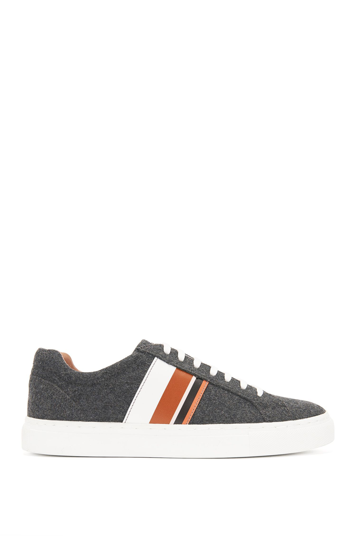Felt trainers with leather detailing: 'Low Cut LB'