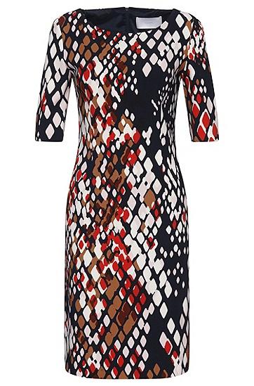 Gemustertes Kleid aus Stretch-Viskose: 'Dinormi2', Gemustert