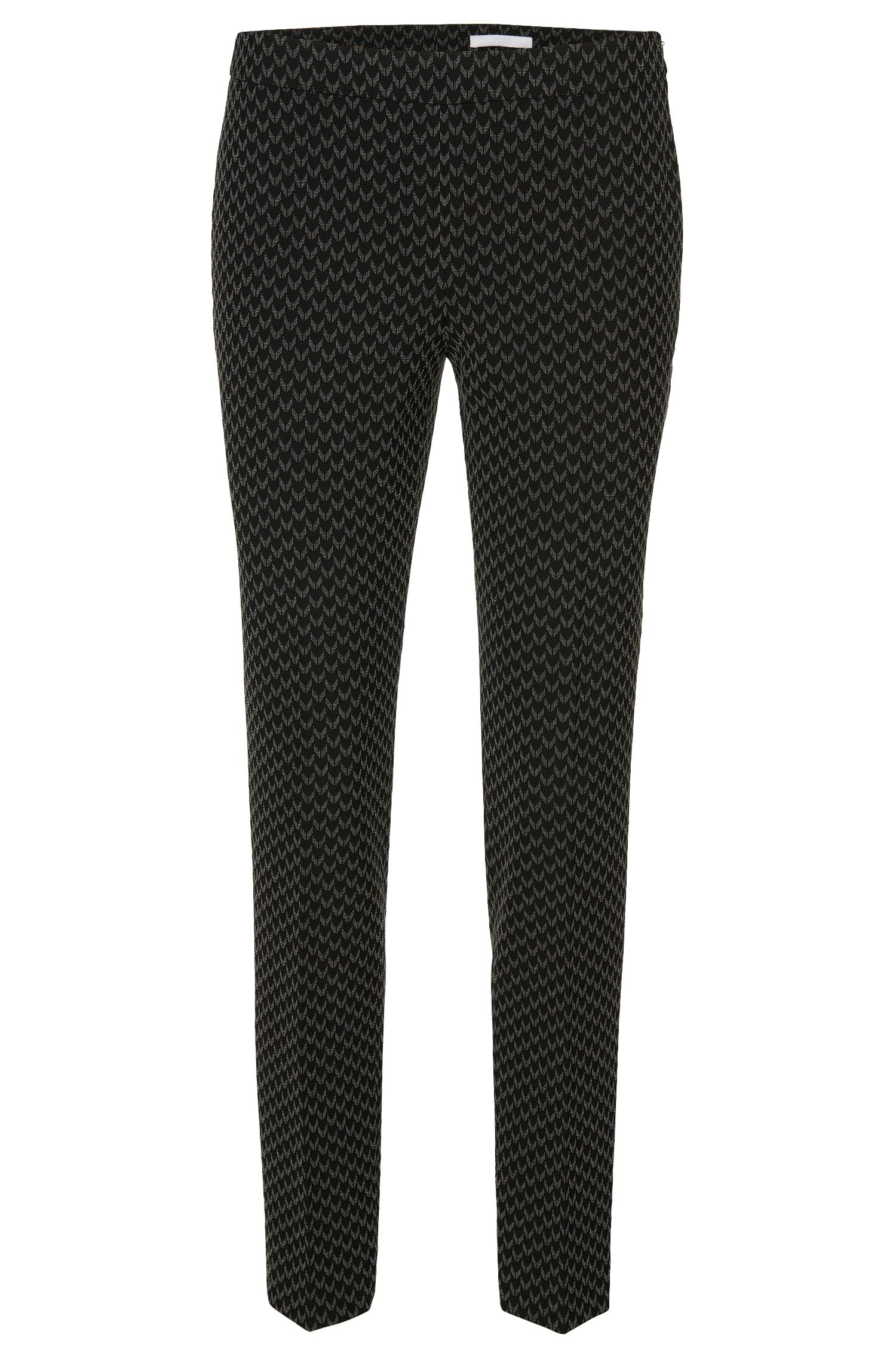 Slim-fit broek met all-over dessin: 'Tiluna_Sidezip1'