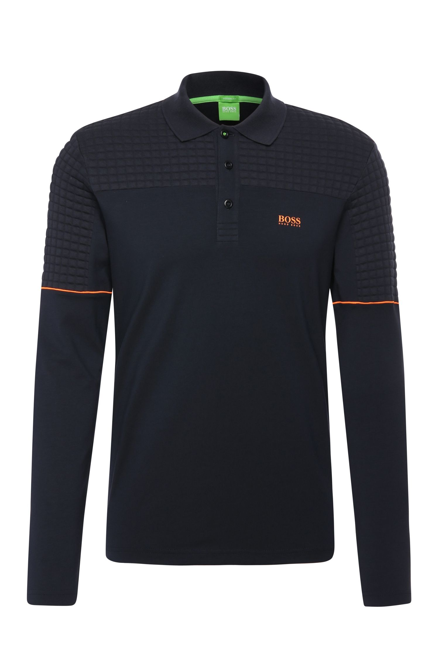 Regular-fit long-sleeved polo shirt in stretch cotton: 'Plisy 1'