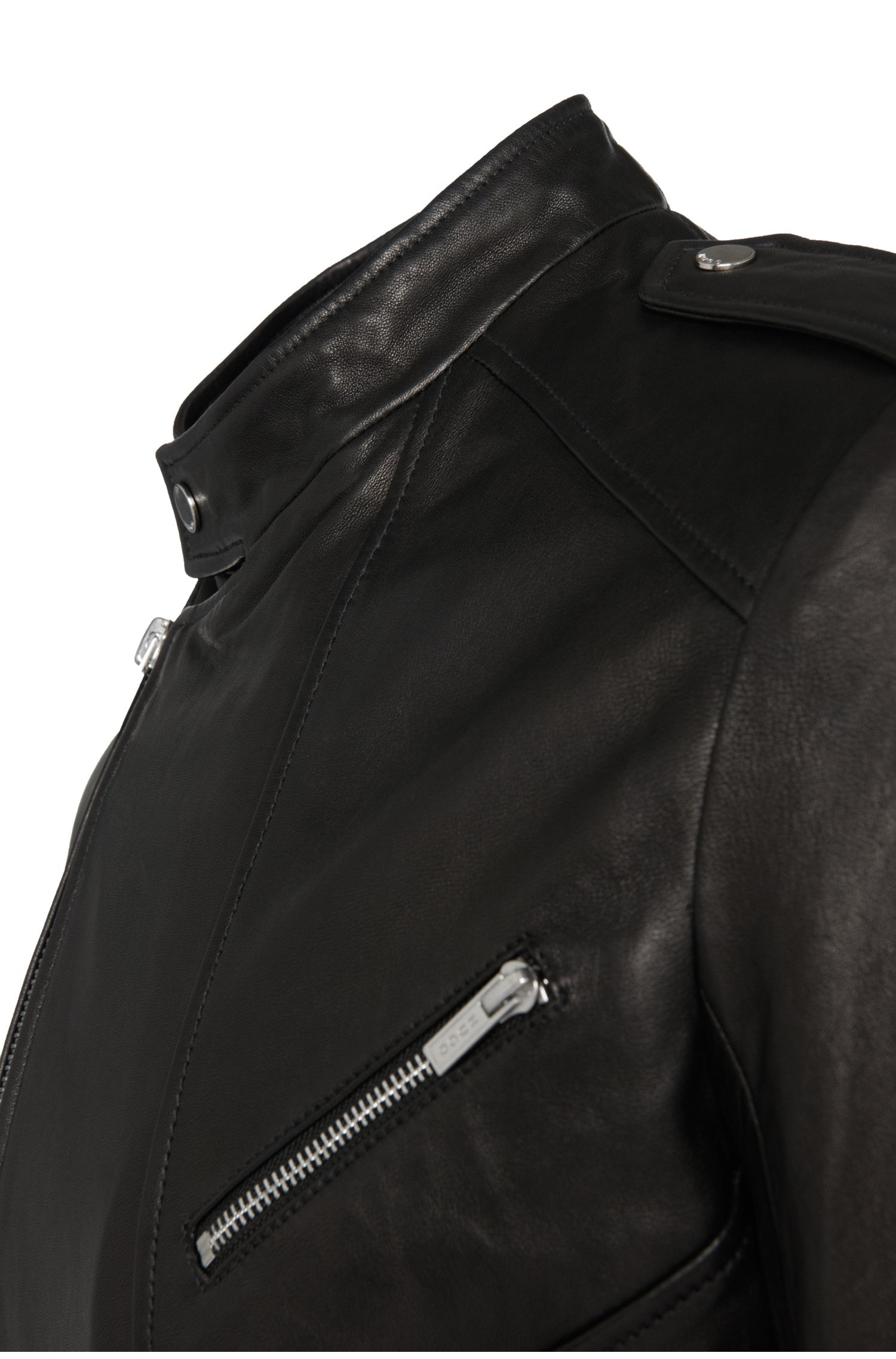 Slim-fit leren jas in bikerstijl: 'Lonn1'
