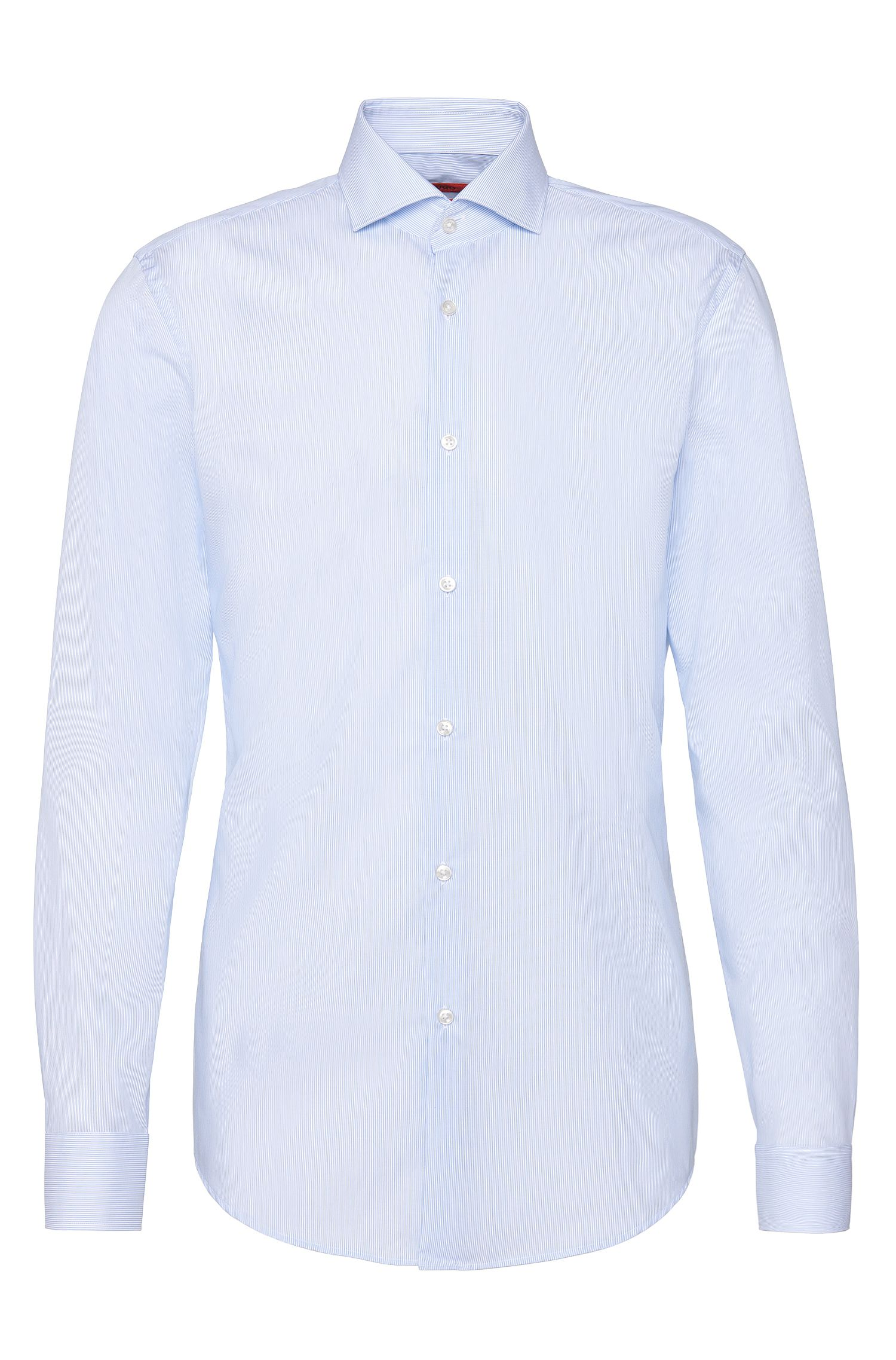 Finely striped slim-fit shirt in easy-iron cotton: 'C-Jason'