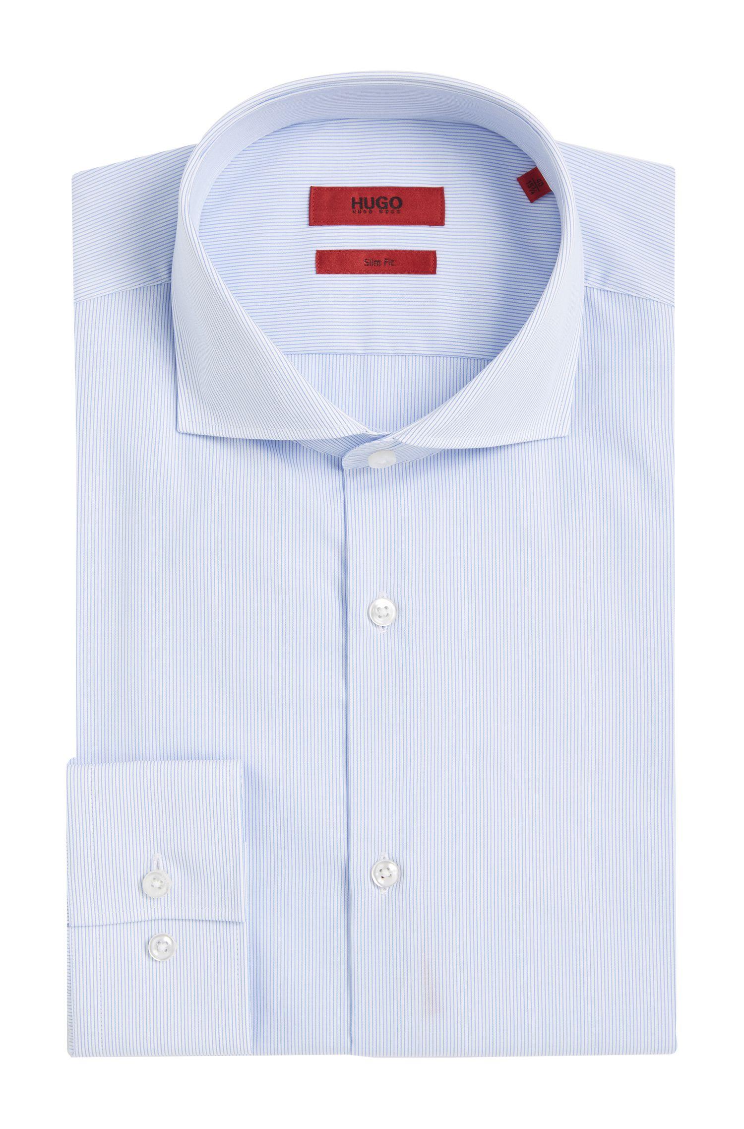 Fijngestreept slim-fit overhemd van gemakkelijk te strijken katoen: 'C-Jason'