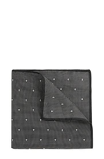 Gemustertes Einstecktuch aus reiner Seide: 'Pocketsquare 33x33cm', Schwarz