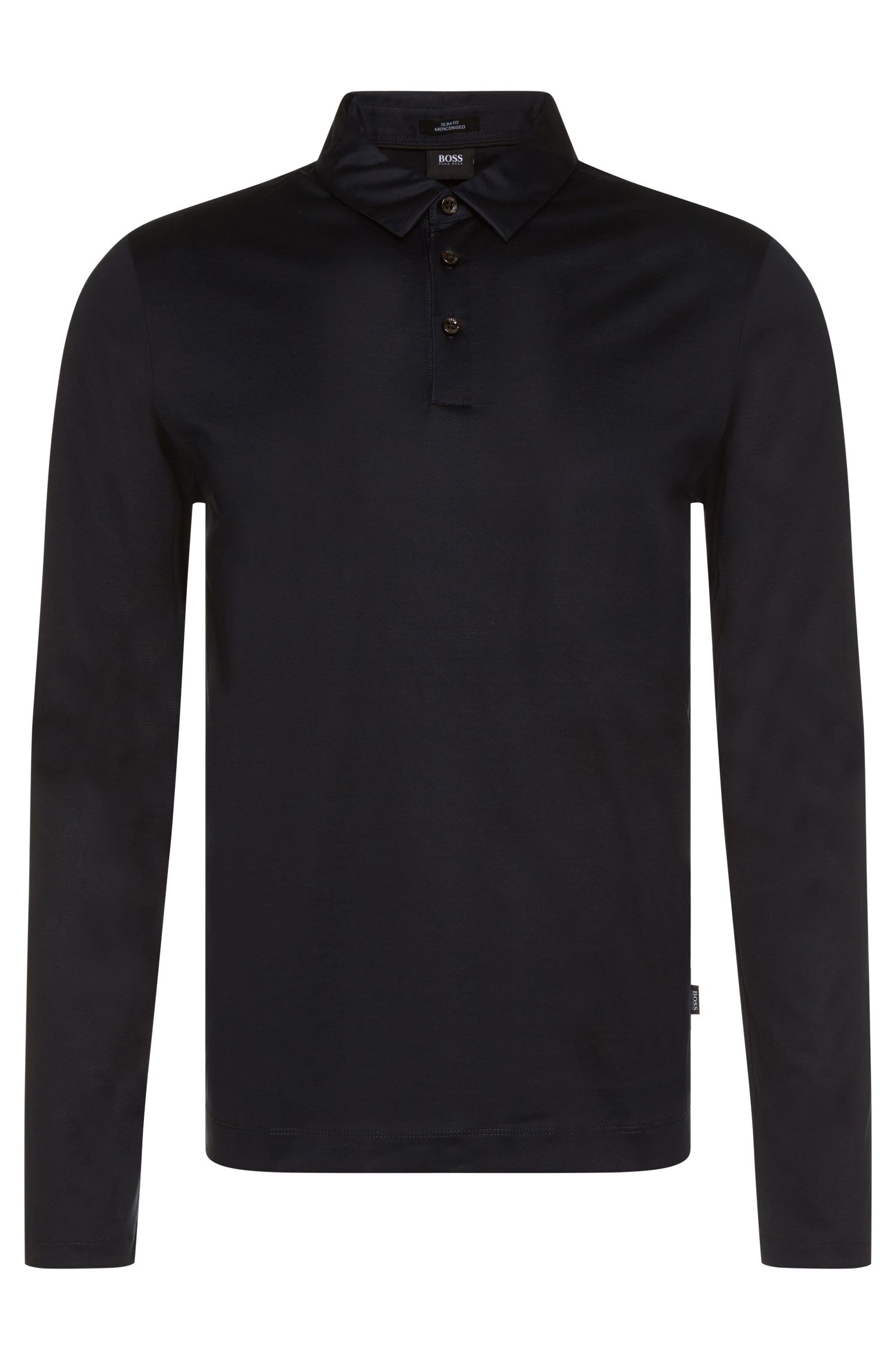 Slim-fit long-sleeved polo shirt in mercerised cotton: 'Prall 05'