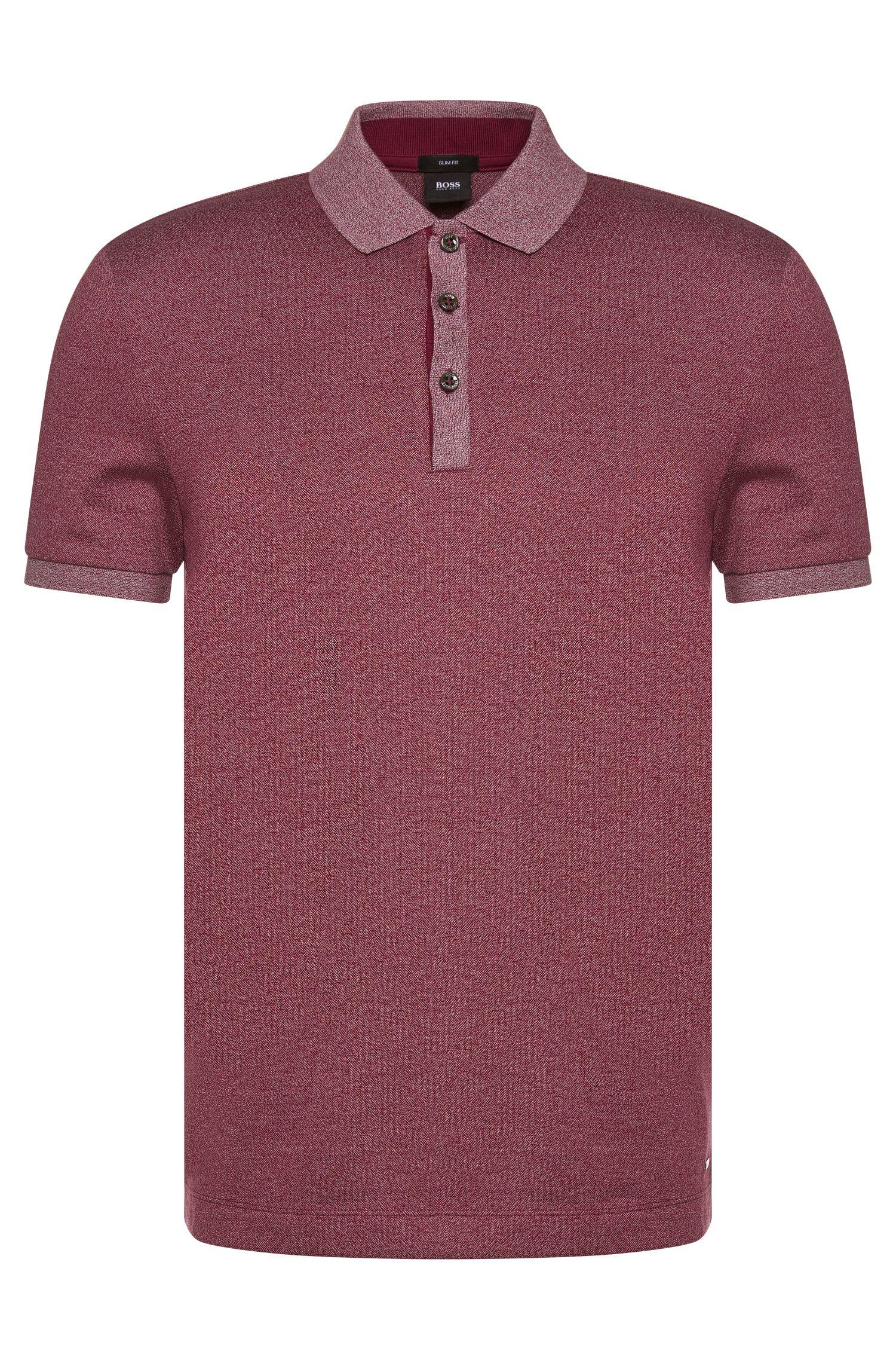Meliertes Slim-Fit Poloshirt aus Baumwolle: 'Phillipson 07'