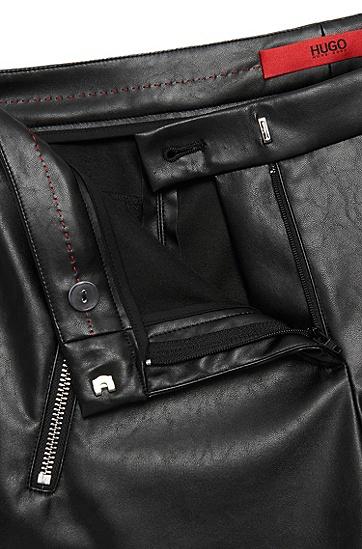 Low Waisted Hose in Leder-Optik: 'Heidina-1', Schwarz