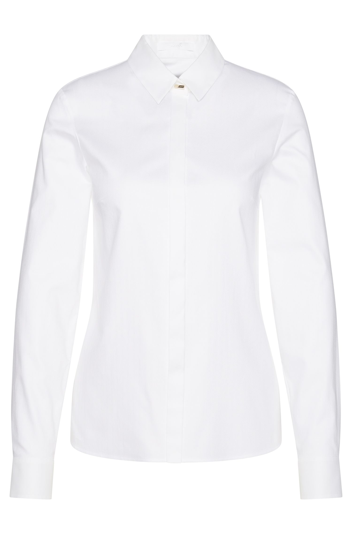 Shirt-style blouse in textured stretch cotton: 'Biwina'