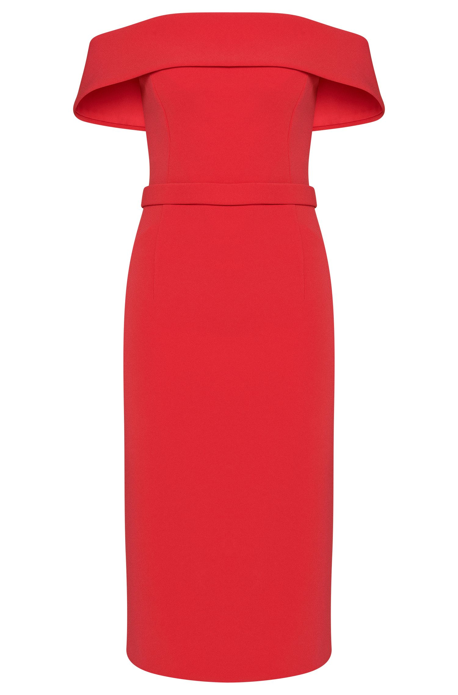 Shoulderless evening dress in non-woven fabric with belt: 'Diany'
