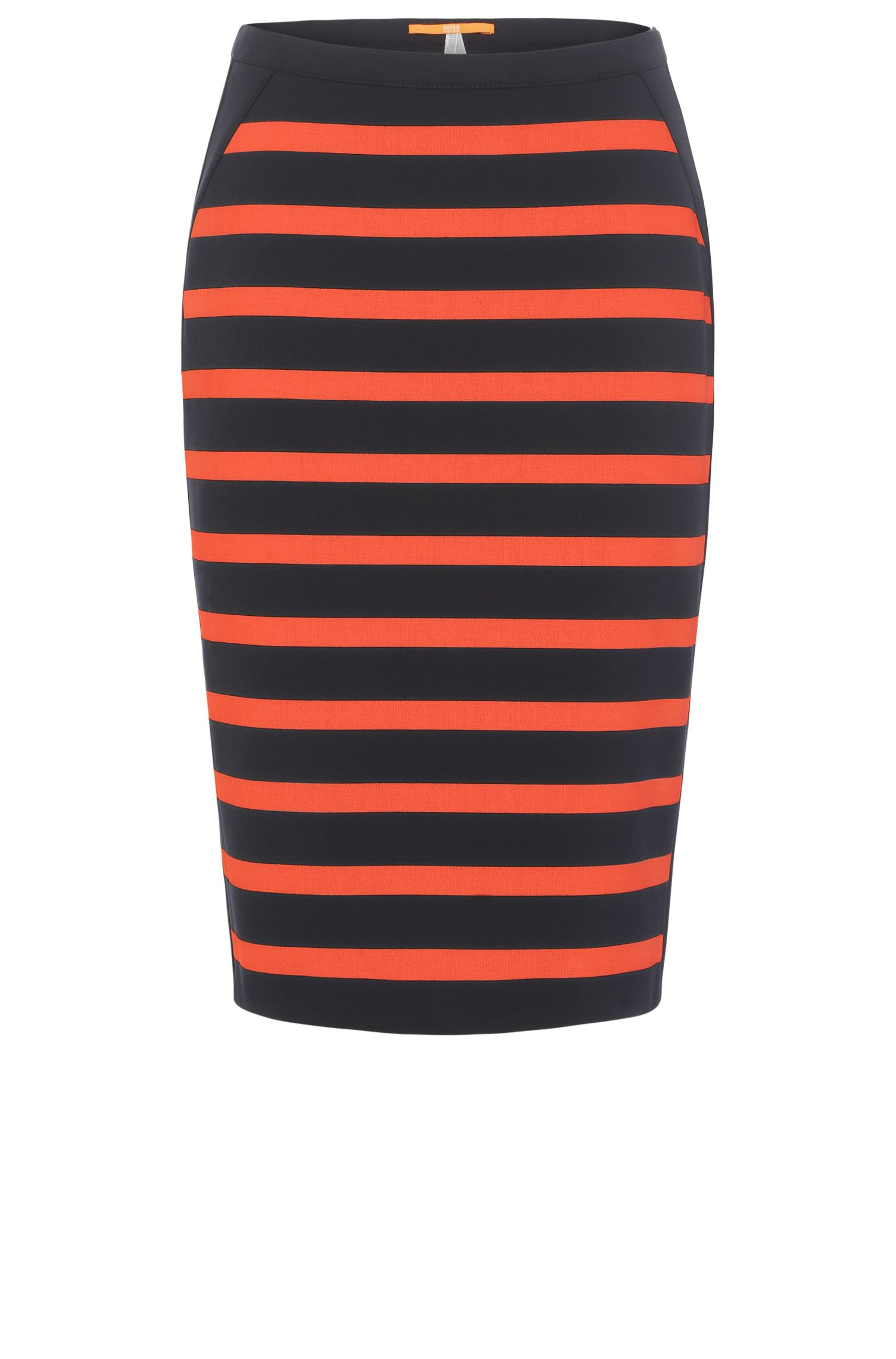 Striped slim-fit skirt in a stretch fabric blend with viscose: 'Balanja'