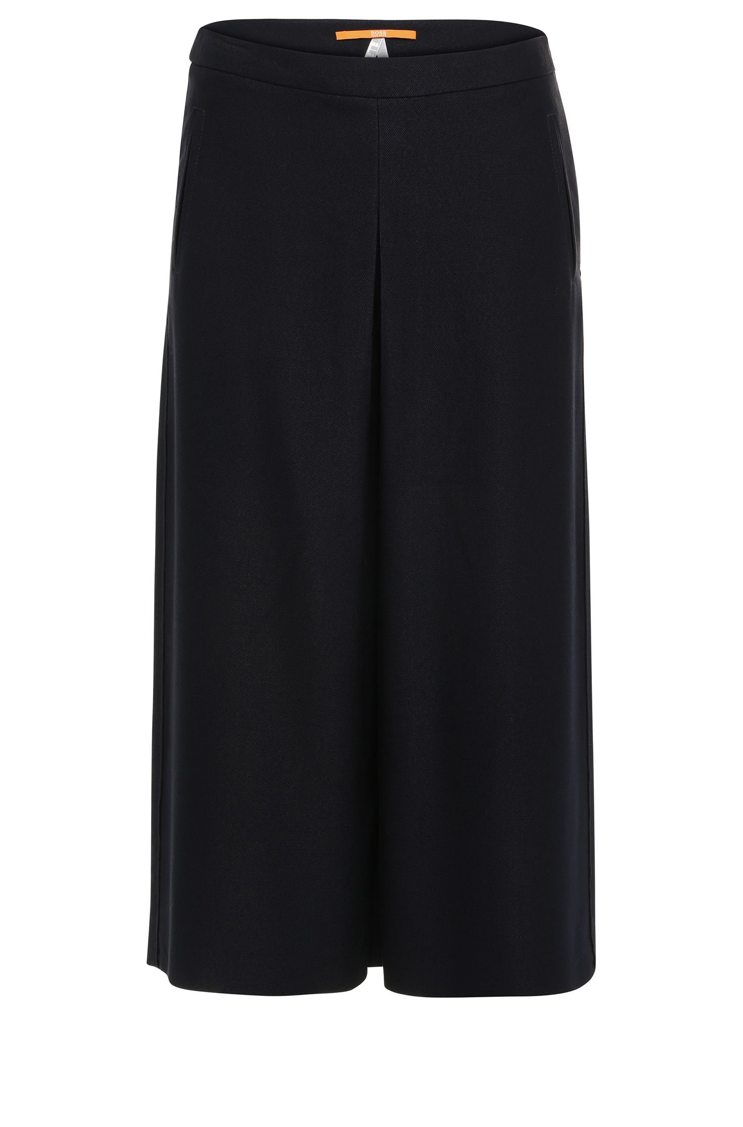 Culottes in textured viscose blend with wool: 'Sacrepa'
