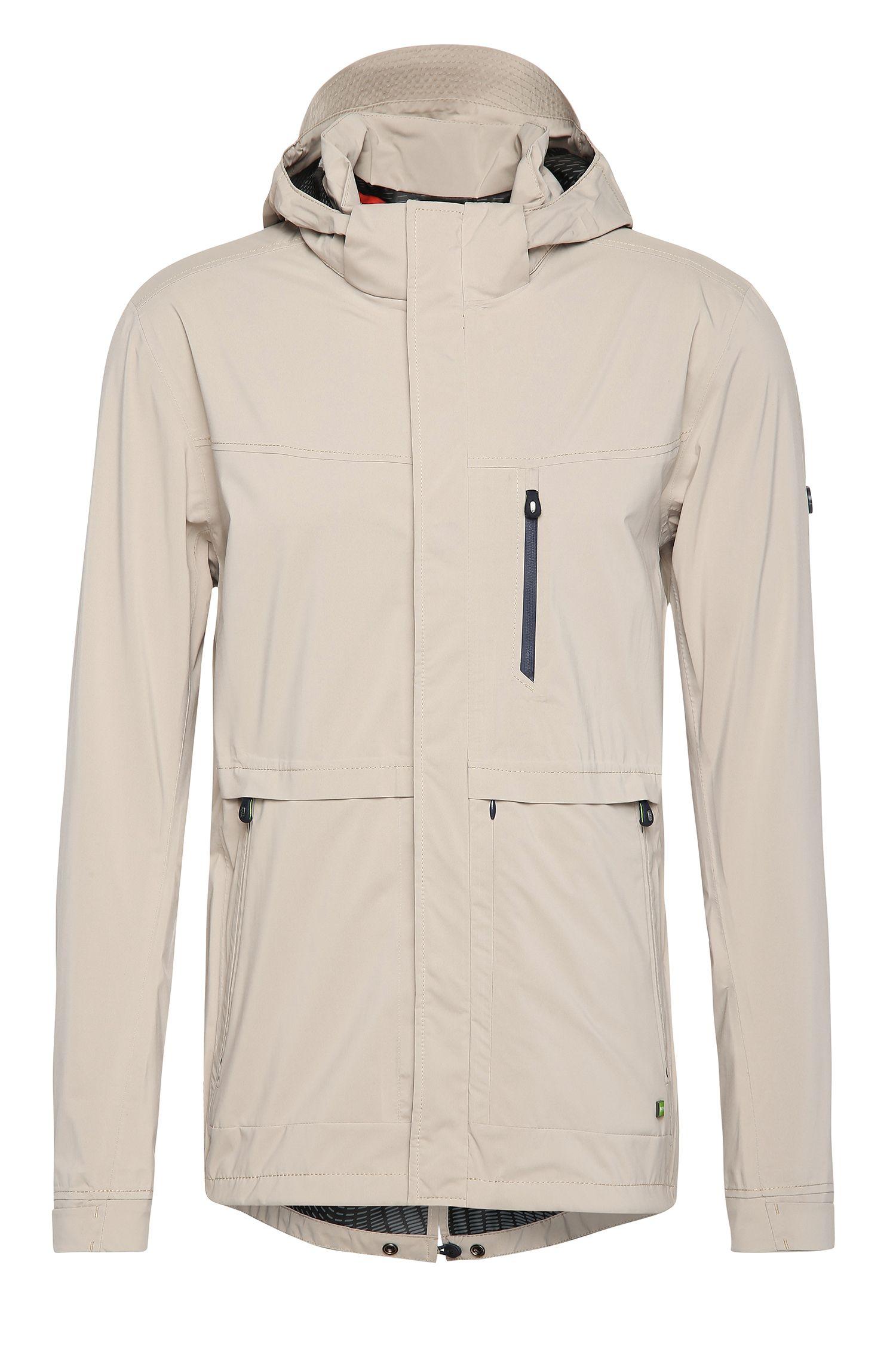 Regular-fit jas van een materiaalmix met afneembare capuchon: 'Jolvic'