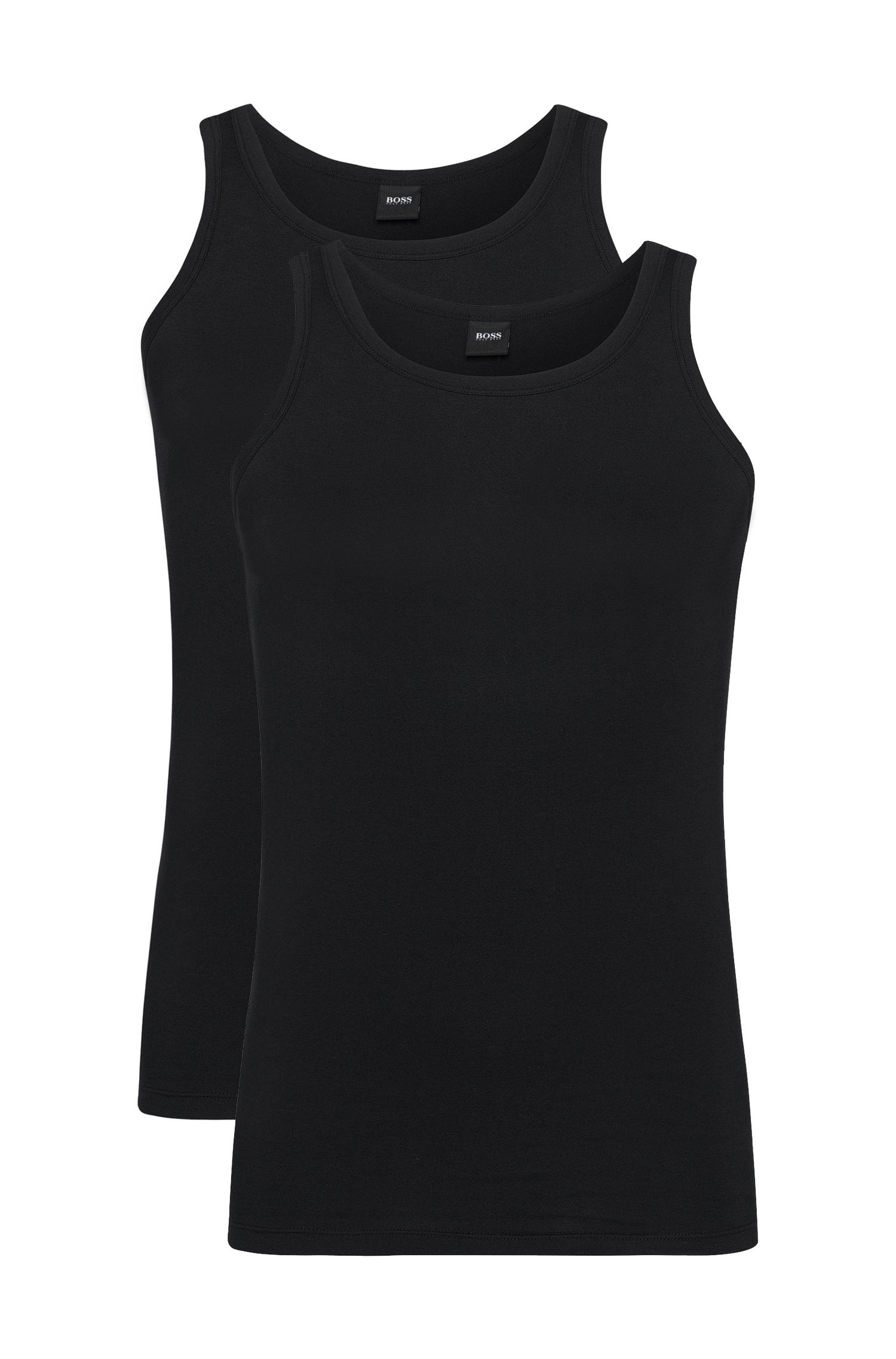 Slim-fit vest in stretch cotton in a double pack: 'Tank Top 2P CO/EL'