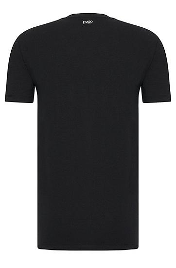 Unifarbenes Regular-Fit T-Shirt aus Stretch-Baumwolle: 'HUGO-V', Schwarz