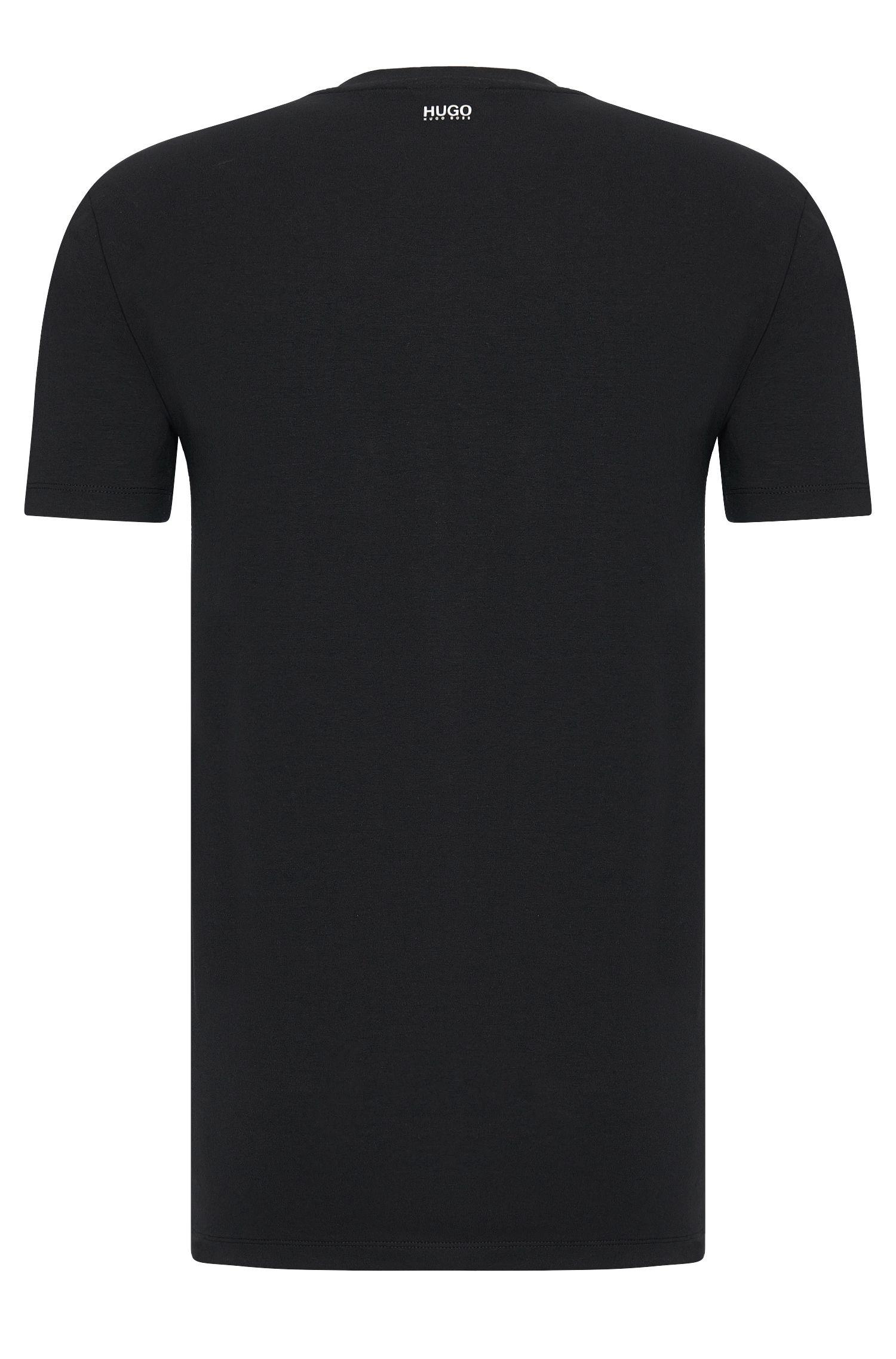 Effen regular-fit T-shirt van stretchkatoen: 'HUGO-V'